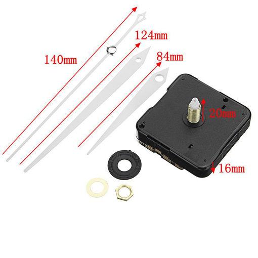 Picture of 20mm Shaft Length DIY White Triangle Hands Silent Quartz Wall Clock Movement Mechanism Repair Parts