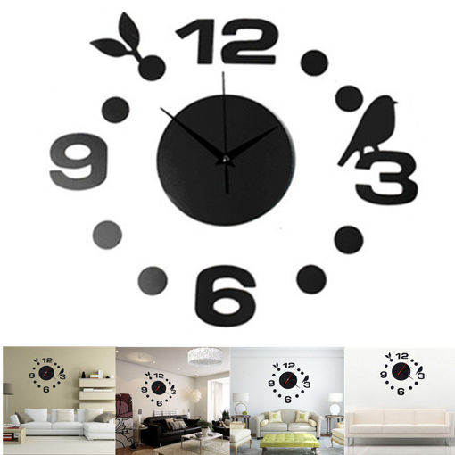 Picture of DIY Fashionable Large Wall Clock Home Office Room Decor 3D Mirror Surface Sticker