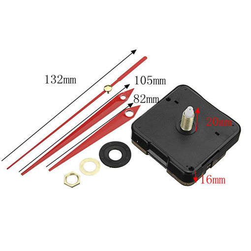 Picture of 20mm Shaft Length DIY Red Triangle Hands Silent Quartz Wall Clock Movement Mechanism For Replacement