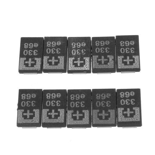 Picture of 10 Pcs SMD Tantalum Polymer Capacitors 2R5TPE330M9 2.5V 330UF POSCAP Polymer Capacitance