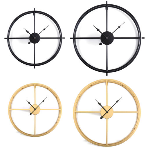 Picture of 50CM/60CM Double Layer Wall Clock Creative Living Room Round Vintage Wrought Iron Wall Clock