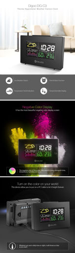 Immagine di Digoo DG-C3 Wireless Color Backlit USB Hygrometer Thermometer Weather Forecast Station Alarm Clock
