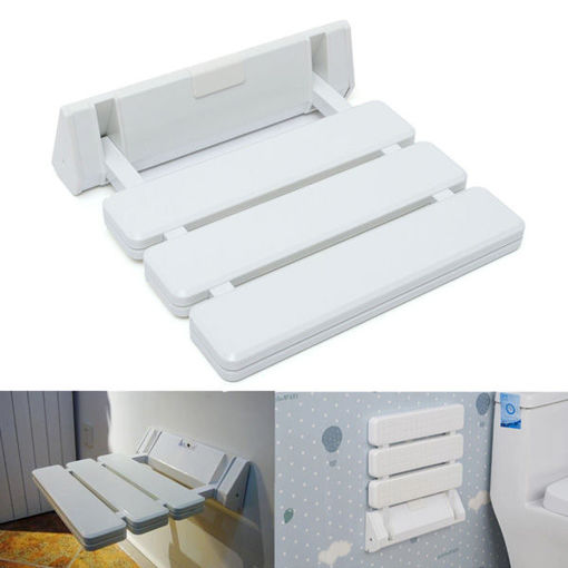 Immagine di Wall-mounted Folding Shower Seat Stool Bathroom Anti-slip Safety Chair for Elder Pregnancy