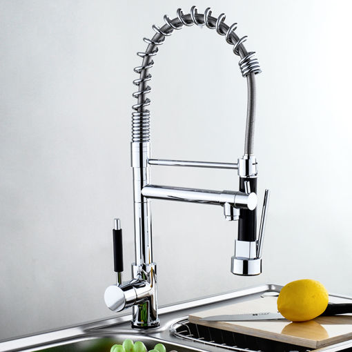 Immagine di Kitchen Sink Mixer Faucet Pull Out Sparyer Tap Single Handle Chrome Brass Brushed Tap