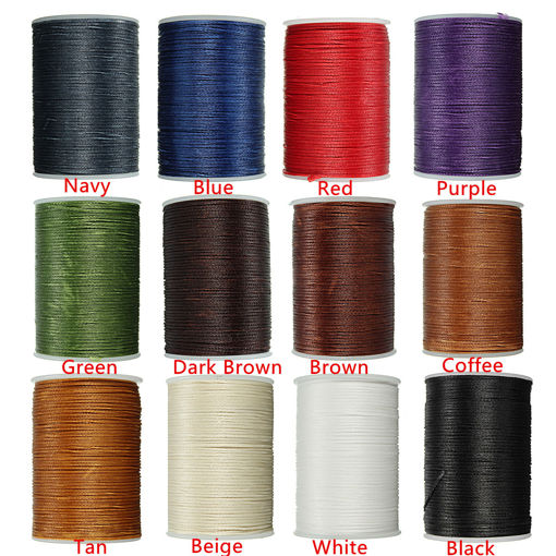 Immagine di Waxed Thread 0.8mm 78m Polyester Cord Sewing Kit Stitching Leather Craft Bracelet