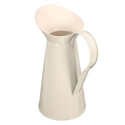 Immagine di White Vintage Shabby Chic Cream Vase Enamel Pitcher Jug Pot Tall Metal Wedding Decor
