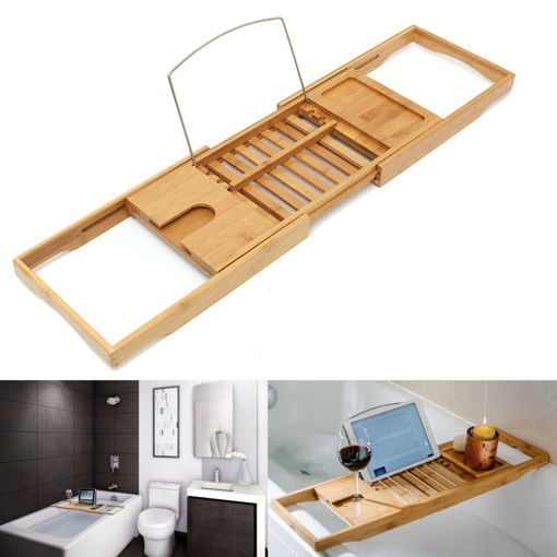 Picture of Luxury Bathroom Bamboo Bath Shelf Bridge Tub Caddy Tray Rack Wine Holder Bathtub Rack Support
