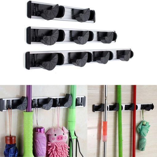 Immagine di Multiduction Aluminium Wall Mounted Mop Broom Holder Brush Rack Cloth Hanger