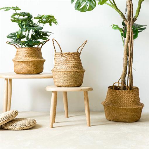 Immagine di Garden Flower Pot Seagrass Belly Basket Storage Plant Pot Foldable Seeding Nursery Decoration Bag