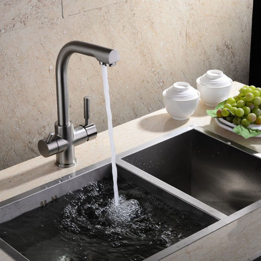 Immagine di Flexible Chrome Brass Kitchen Sink Bathroom Clean Wash Cold & Hot Basin Twin Lever Faucet Mixer Tap