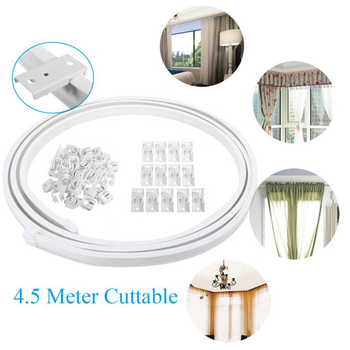 Immagine di 4.5 Meter Cuttable Bendable Curtains Track Rail for Straight Bay Windows Caravan