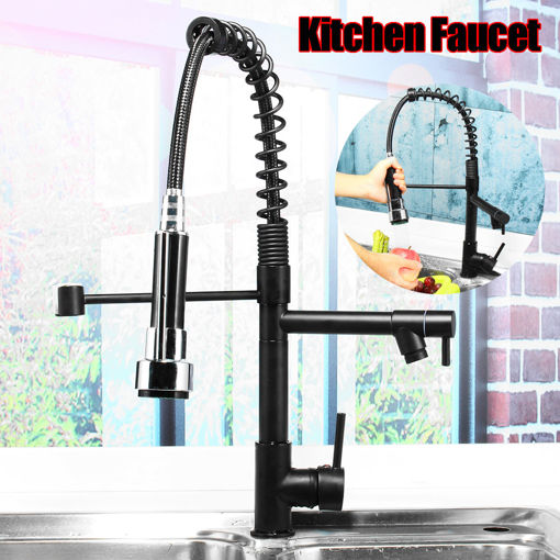 Immagine di Oil Rubbed Bronze Kitchen Sink Faucet Single Handle Pull Down Sprayer Mixer Tap