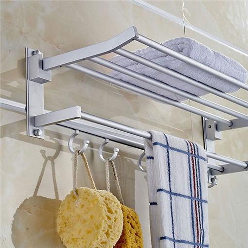 Picture of Alumimum Folded Silver Bath Towel Shelf Washcloth Rack Holder With 5 Hooks