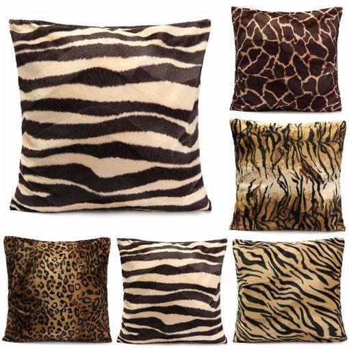 Immagine di Leopard Animal Print Pattern Pillow Case Sofa Waist Throw Cushion Cover Home Decoration