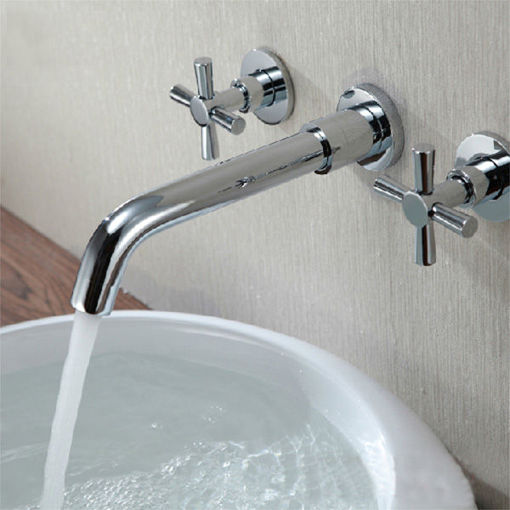 Picture of Chrome Brass Modern Wall Mounted 3 Hole Bath Faucet Tap