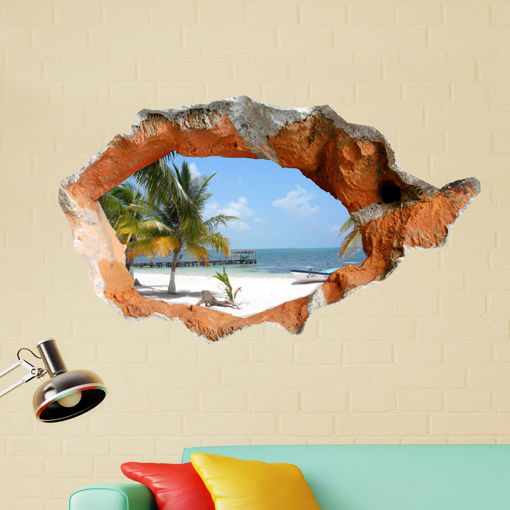 Immagine di 3D Beach Wall Decals 38 Inch Removable Sea Wall Art Stickers Home Decor