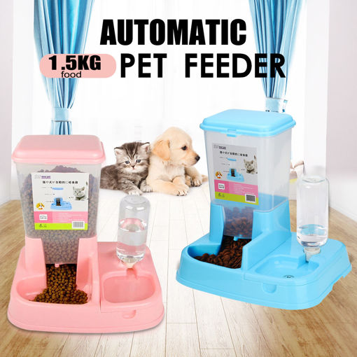 Immagine di Pet Cat Dog Automatic Water Drinker Dispenser Food Feeder Dish Bowl Bottle Pet Bowl