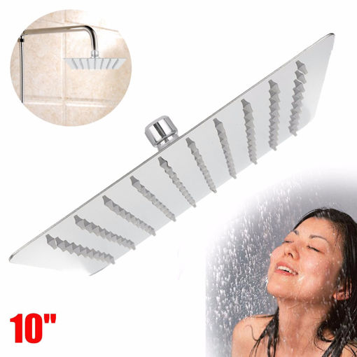 Immagine di 10 Inch 25*25cm Square Top Spray Shower High Pressure 304 Stainless Steel Shower Head