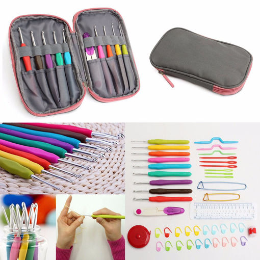 Immagine di Crochet Needle Hooks Set Organiser Case AccBearded Needle Suit With 45 Piece Attach One Storage Bag