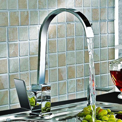 Immagine di Kitchen Sink Faucet Mixer Tap Swivel Spout Chrome Brass Square Single Lever Mono