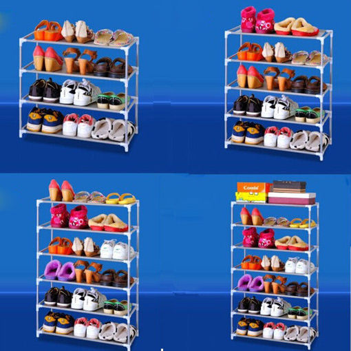 Picture of Multi Tiers Shoes Shelf Storage DIY Metal Organizer Rack Holder Household Stands