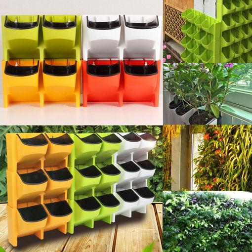 Immagine di 2-Pocket Vertical Wall Planter Self Watering Hanging Flower Pot Garden Decoration