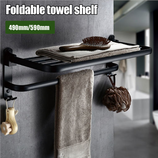 Picture of Folding Towel Holder Double Bath Shelves Towel Rail Bathroom Fixed Accessories