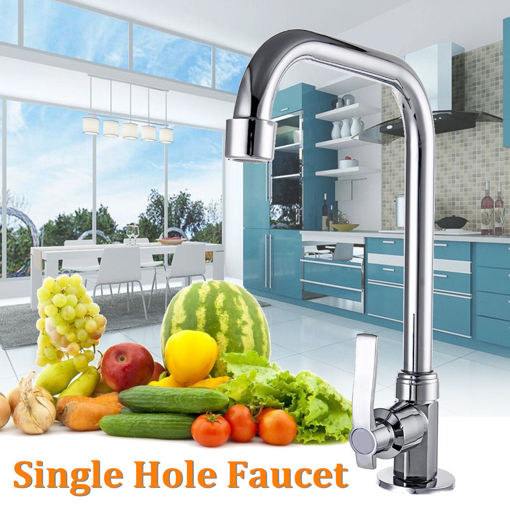 Immagine di Stainless Steel Single Hole Faucet Kitchen Wash Basin Rotate Water Taps Mixer