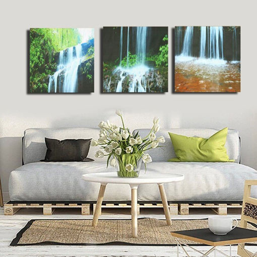 Immagine di 3 Cascade Large Waterfall Framed Print Painting Canvas Wall Art Picture Home Decorate Living Room