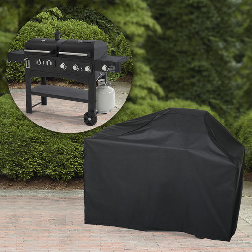 Immagine di Garden Patio BBQ Cover 57Inch 600D Heavy Duty Waterproof Gas Grill Black Cover