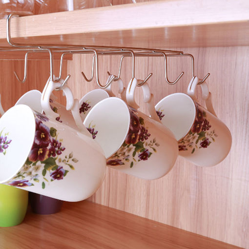 Picture of 12 Hooks Stainless Steel Kitchen Storage Rack Cupboard Hanging Hook Shelf Dish Hanger Chest Storage