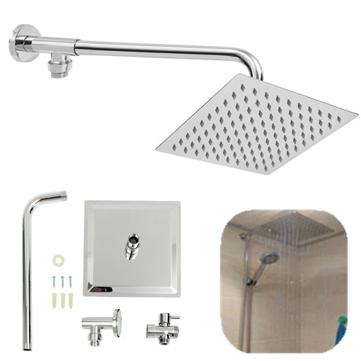 Immagine di 8inch 304 Stainless Steel Square Shower Head Extension Arm Bottom Entry Shower Diverter Valve Set