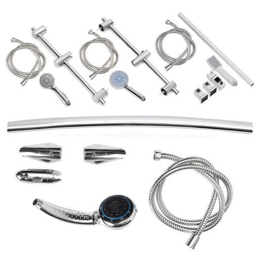 Immagine di Bathroom Shower Head Riser Rail Bracket Handheld Shower Head Holder Bar Chrome