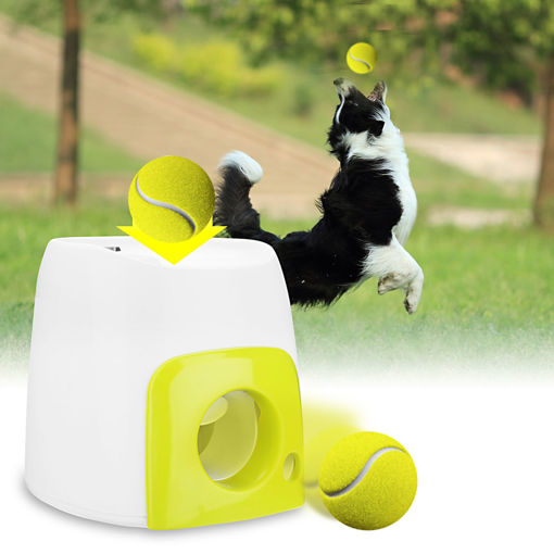 Immagine di Pet Dog Launcher Tennis Ball Toys Fetch Thrower Throw Up Hyper Game Outdoor Toys