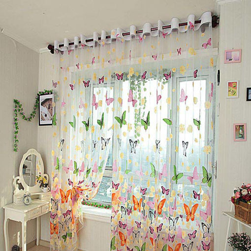 Immagine di Butterfly Printed Sheer Window Curtains Tulle Door Window Screen