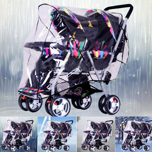 Immagine di Clear Stroller Rain Cover Weather Pram Baby Infant Double Pushchair Wind Shield Raincoat