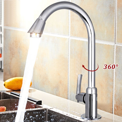 Immagine di Stainless Steel Single Lever 360 Rotation Spout Kitchen Home Cold Water Faucet