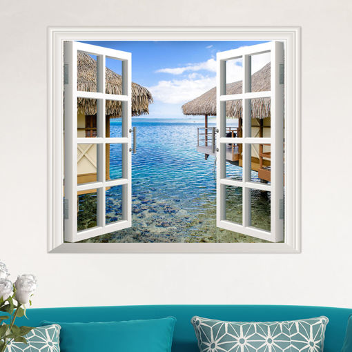 Immagine di 3D Artificial Window View 3D Wall Decals Sea View Room Stickers Home Wall Decor Gift