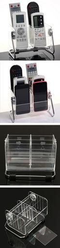 Immagine di Desktop Clear TV Remote Control Mobile Phone Organizer Storage Box Stand Holder Transparent Case