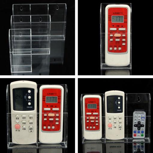 Immagine di Acrylic TV Air Conditioner Remote Control Holder Case Wall Mount Storage Box