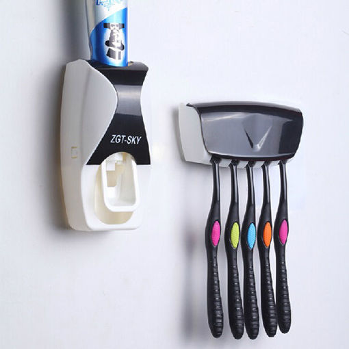 Immagine di Automatic Bathroom Wall Mounted Toothpaste Dispenser With Five Toothbrush Holder