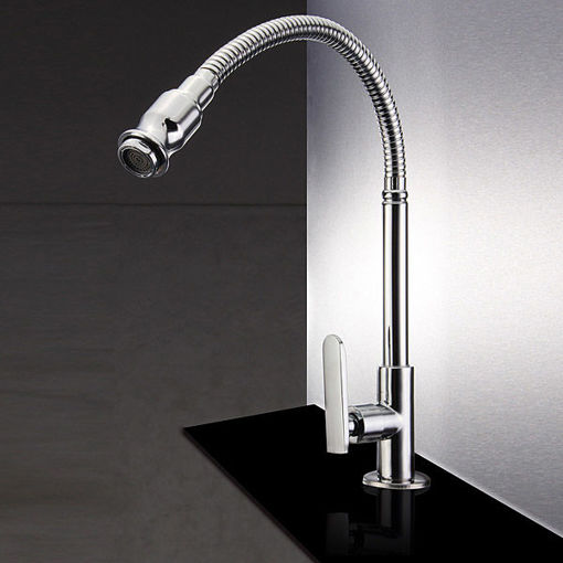 Immagine di Kitchen Sink Single Lever Faucet Flexible Chrome Brass Pull Out Spring Tap