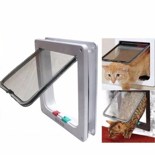 Immagine di Medium Small White Pet Cat Puppy Dog Supplies Lock Frame Safe Security Flap Door Gate Pet Supplies