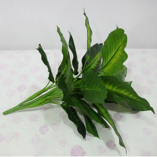 Immagine di 50cm Lifelike Leaves Evergreen Artificial Plant Simulation Flowers Bush Potted Flower Home Decor