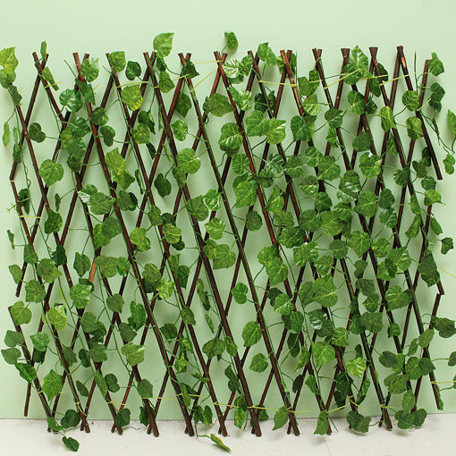 Immagine di Garden Patio Yard Expandable Artificial Ivy Leaf Fence Decorations Screen
