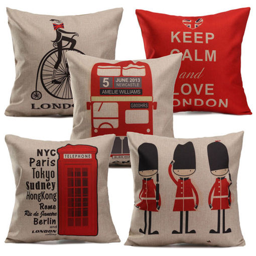 Immagine di British Style Printed Pillows Cases Home Bedroom Sofa Decor Cushion Cover