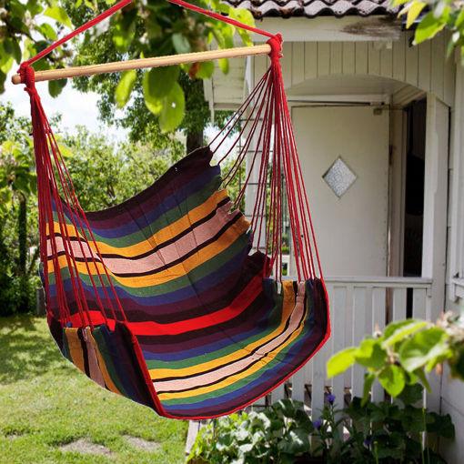 Immagine di Garden Patio Hanging Thicken Hammock Chair Indoor Outdoor Cotton Swing Cushion Seat
