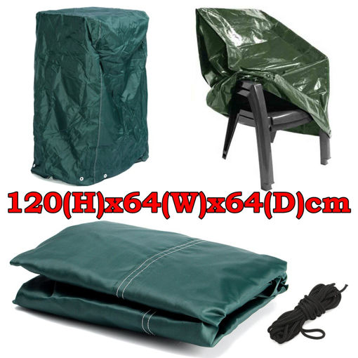 Immagine di 120x64x64cm Outdoor Garden Patio Furniture Stack Chair Cover Dustproof Shelter