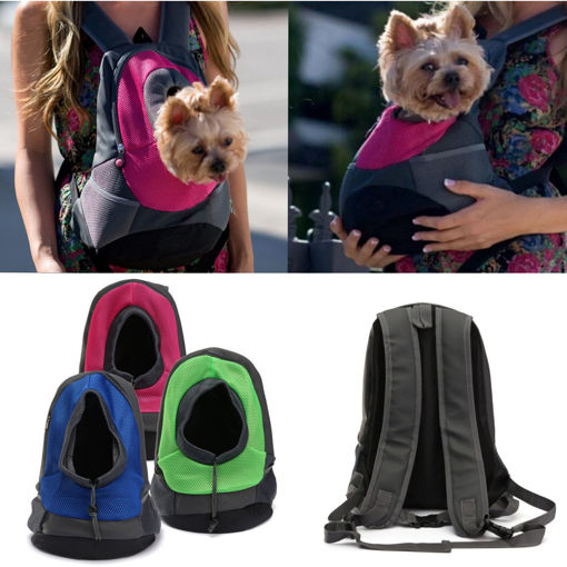 Immagine di Dog Carrier Cat Puppy Mesh Pet Travel Bag Backpack Double Portable Shoulder Bag