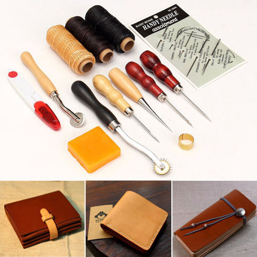 Immagine di 13pcs Wood Handle Leather Craft Tools Kit Leather Hand Sewing Tool Punch Cutter DIY Set